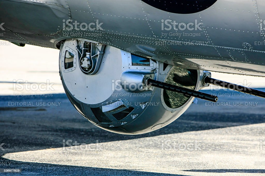 Ball gun turret on a B17G Flying Fortress stock photo