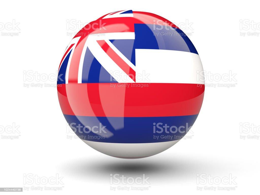 Ícone de bola 3D com bandeira do Havaí. Bandeiras de locais dos Estados Unidos - foto de acervo