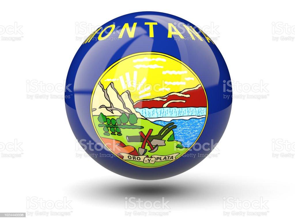 Ícone de bola 3D com bandeira de montana. Bandeiras de locais dos Estados Unidos - foto de acervo