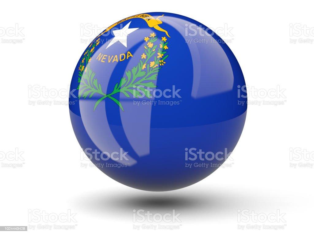 Ícone de bola 3D com bandeira de nevada. Bandeiras de locais dos Estados Unidos - foto de acervo