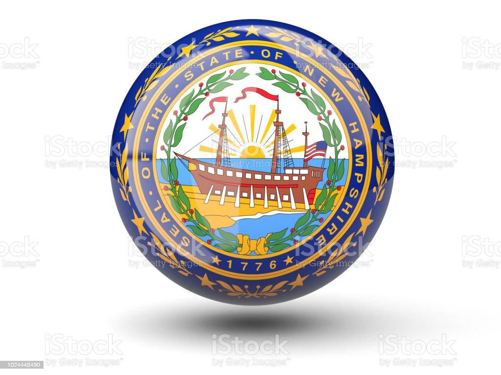 Ícone de bola 3D com bandeira de new hampshire. Bandeiras de locais dos Estados Unidos - foto de acervo