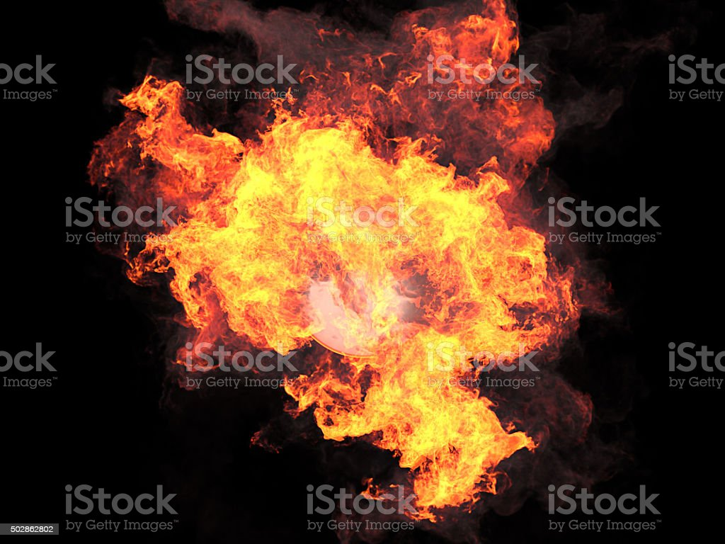Ball in fire stock photo