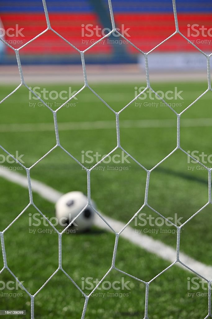 ball in goal post royalty-free stock photo