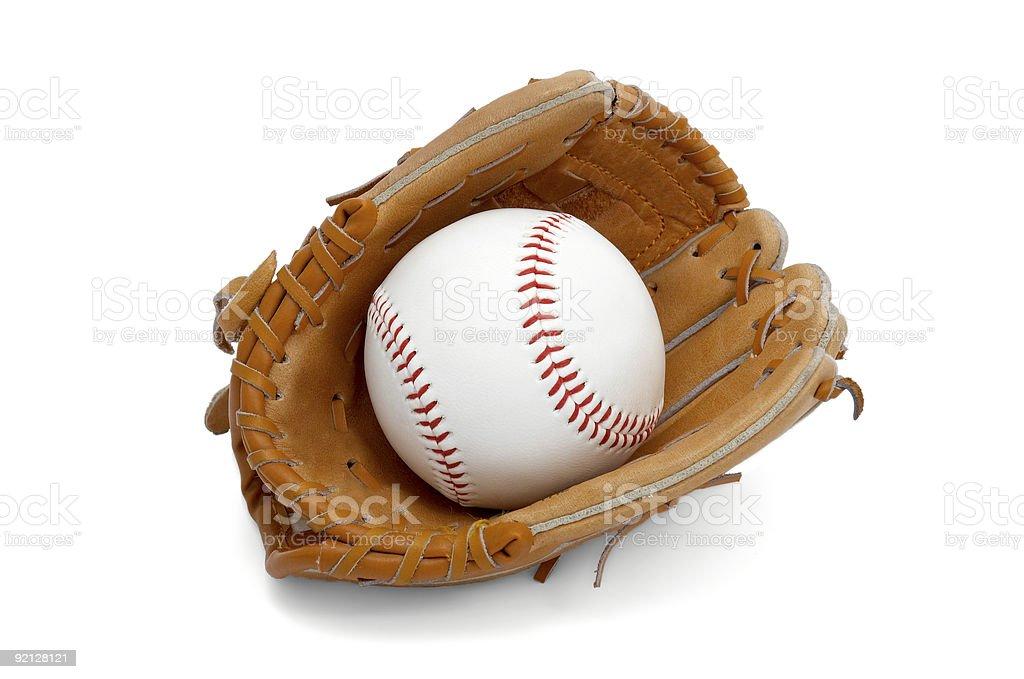 ball in kids glove stock photo