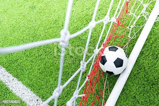 istock Ball in soccer goal net 482180620