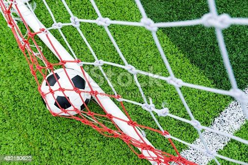 istock Ball in soccer goal net 482180622