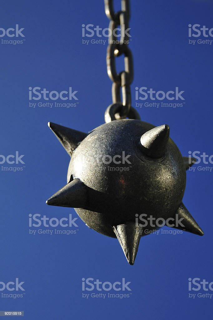Ball n Chain in blue stock photo
