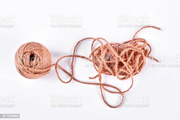 Ball of brown yarn on white background picture id871553960?b=1&k=6&m=871553960&s=612x612&h=jwkmqmxjwji3s86hgwboadlxsd hhtosg qlcjj3wtk=