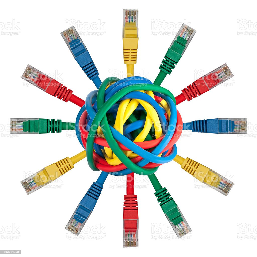 Ball of colored cables with network plugs royalty-free stock photo