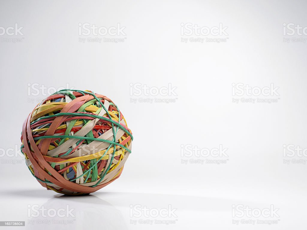 Ball of elastic bands stock photo