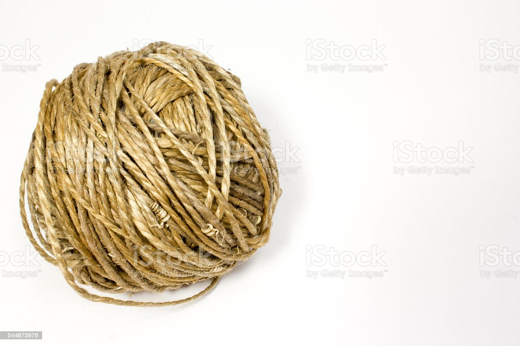 Ball of jute rope on white background stock photo