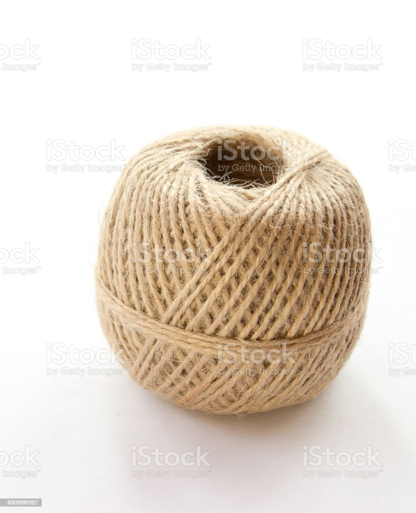 Ball of rope on a white background stock photo
