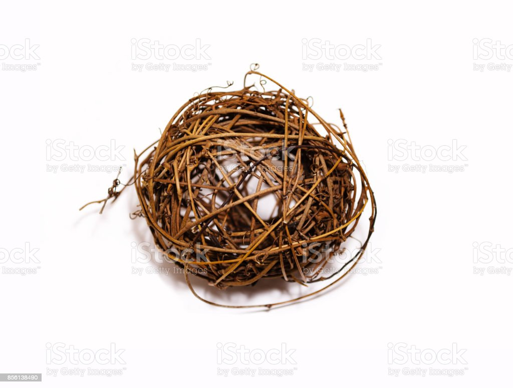 Ball of twigs on a white background stock photo
