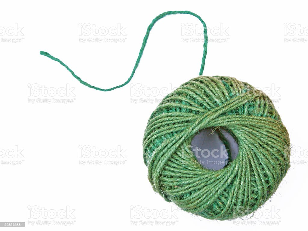 Ball of twine isolated on a white background stock photo