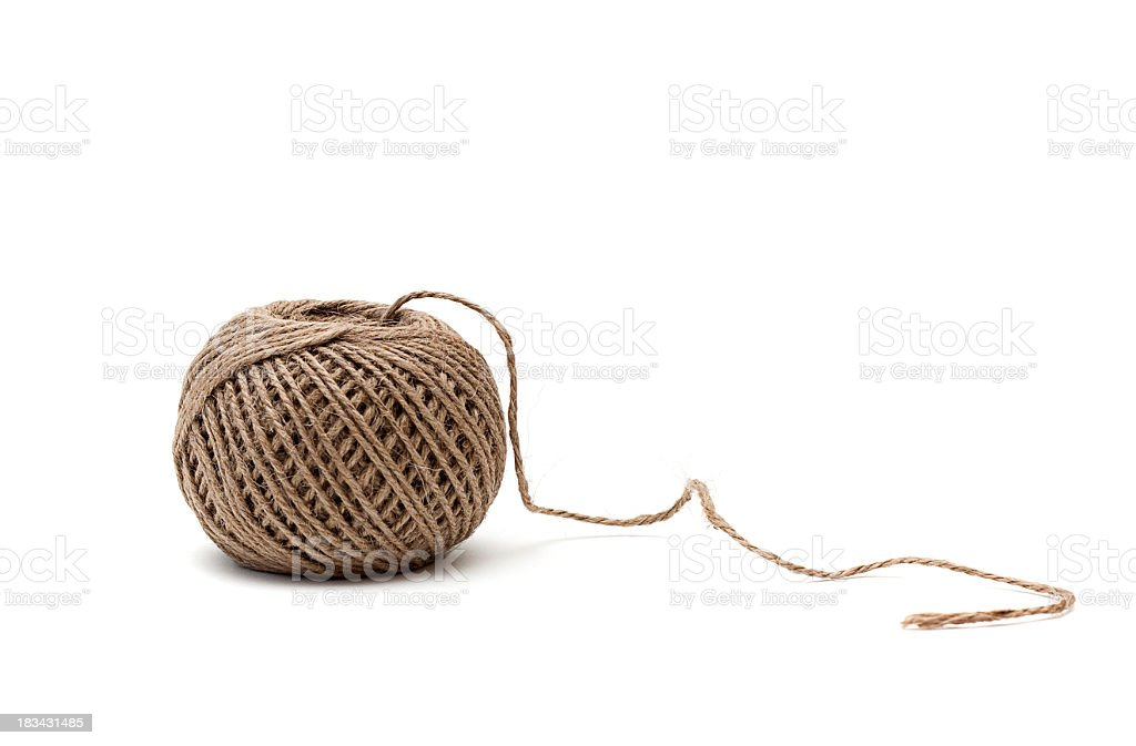 Ball of twine isolated on white stock photo