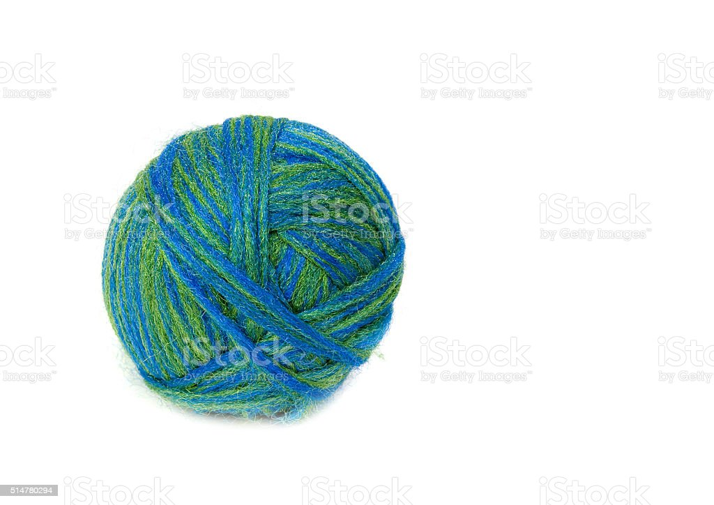 Ball of wool. Isolated on white background. stock photo
