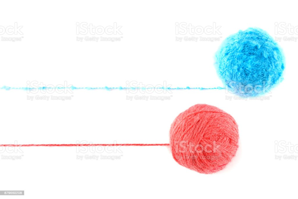 Ball of yarn for knitting isolated on white background. Flat lay, top view. Free space for text. stock photo