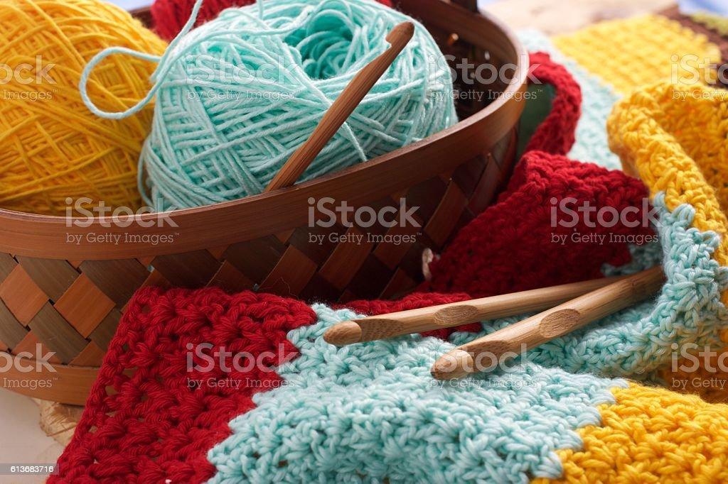 Ball of Yarn on Basket stock photo