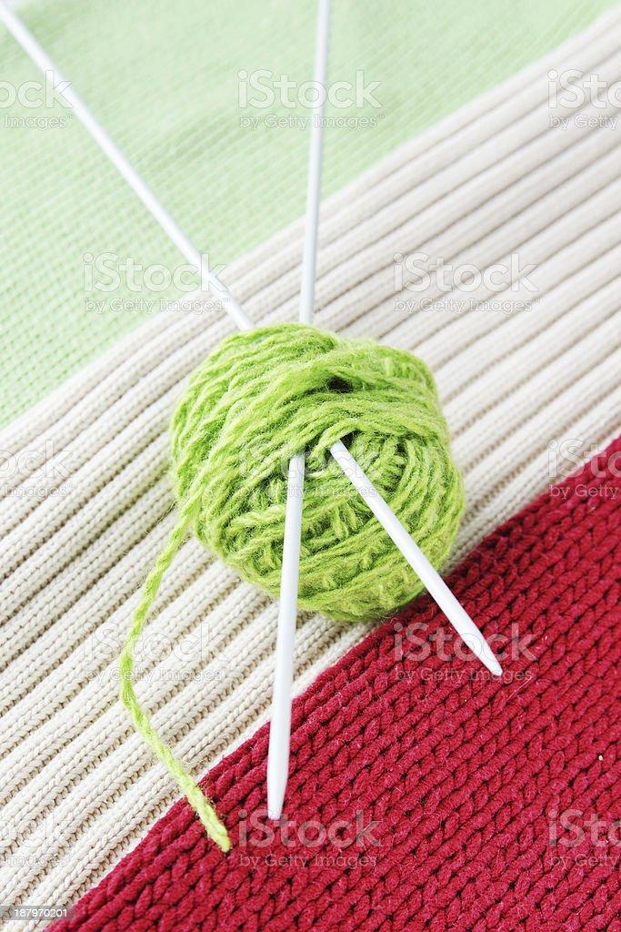 Ball of yarn on knitted fabrics royalty-free stock photo