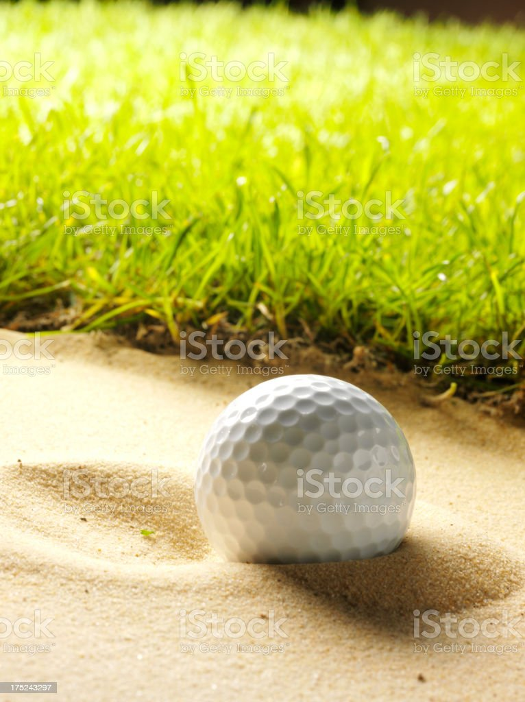Ball on a Golf Course in the Bunker royalty-free stock photo