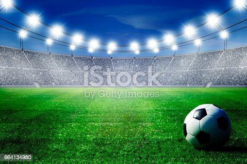istock ball on field of stadium 664134980
