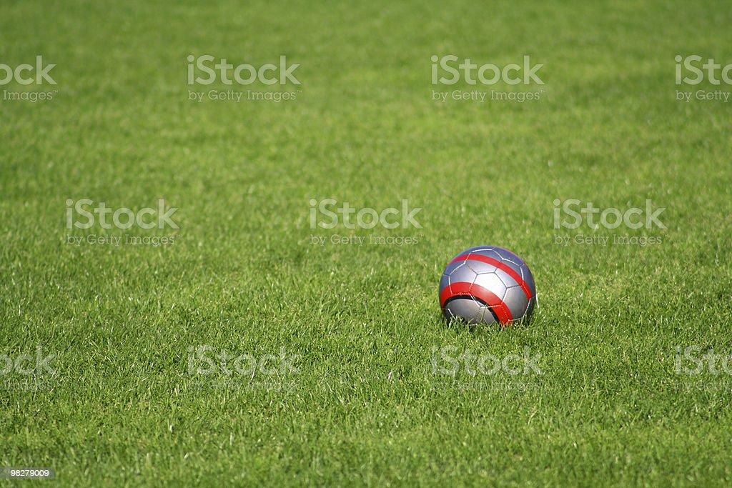 Palla sul campo da calcio foto stock royalty-free