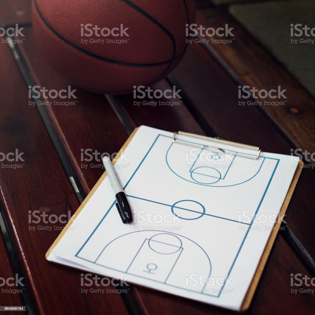 Ball Pen Basketball Court Chart Concept stock photo
