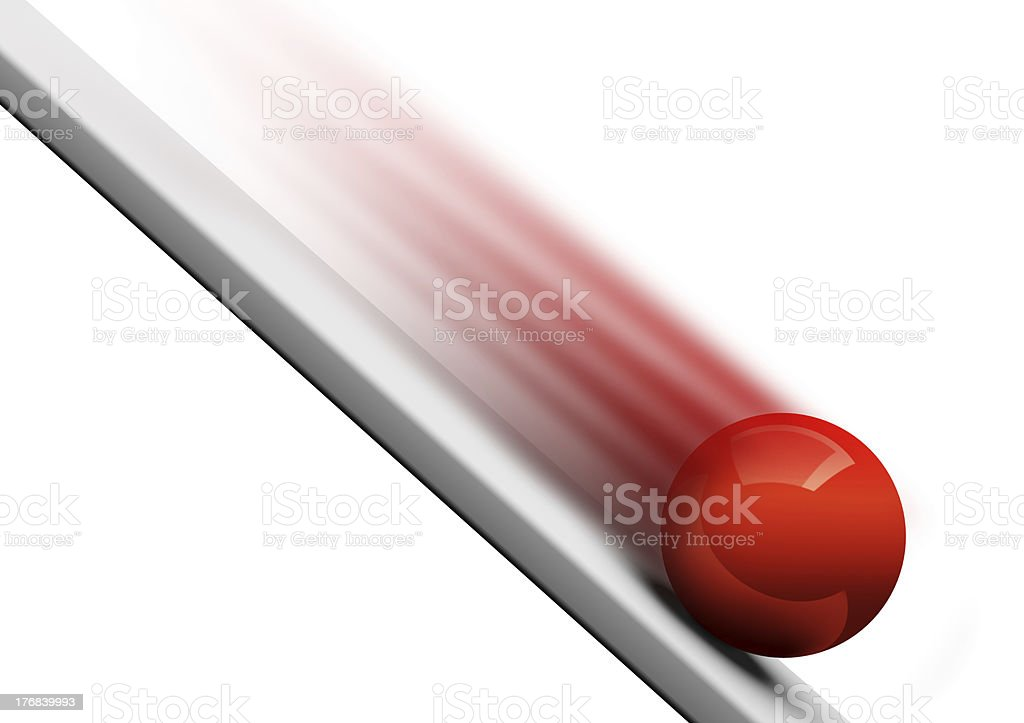 Ball rolling downwards 3d royalty-free stock photo
