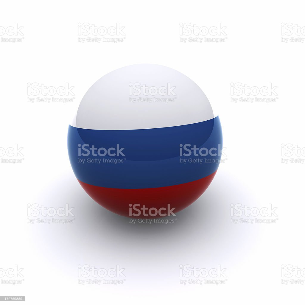 3D Ball - Russia Flag 3D Ball - Russia Flag on white background Blue Stock Photo