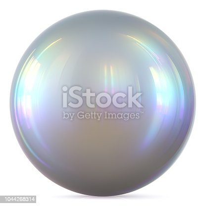 Ball silver sphere chrome white pearl round button, basic circle geometric shape solid figure, simple minimalistic atom element, single drop glossy sparkling object blank balloon icon. 3d render illustration