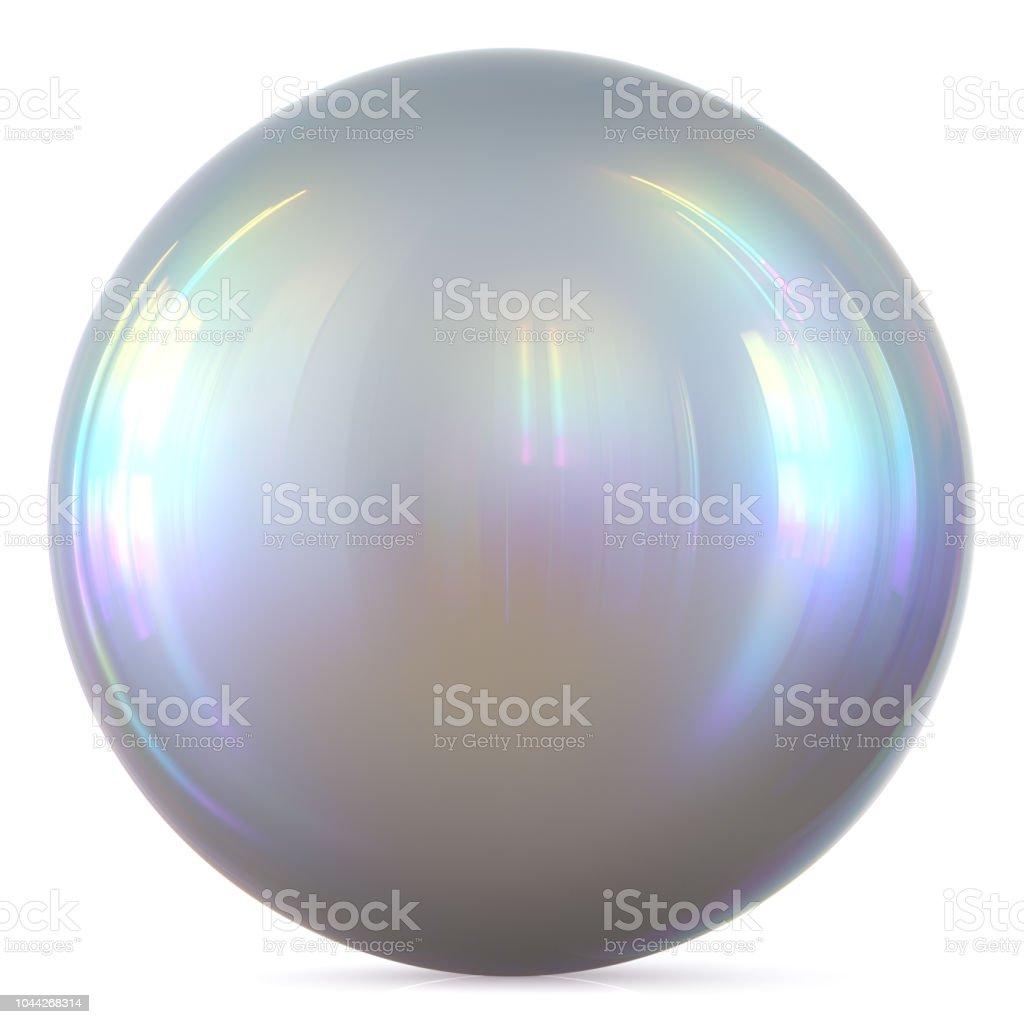Ball silver sphere chrome white round button basic circle pearl stock photo
