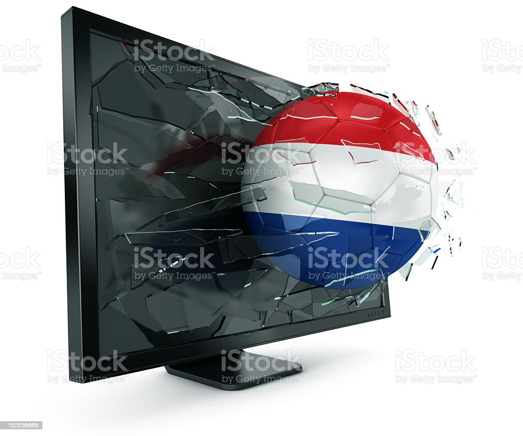 Ball through monitor royalty-free stock photo