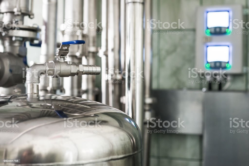 Ball valve for venting the air receiver stock photo