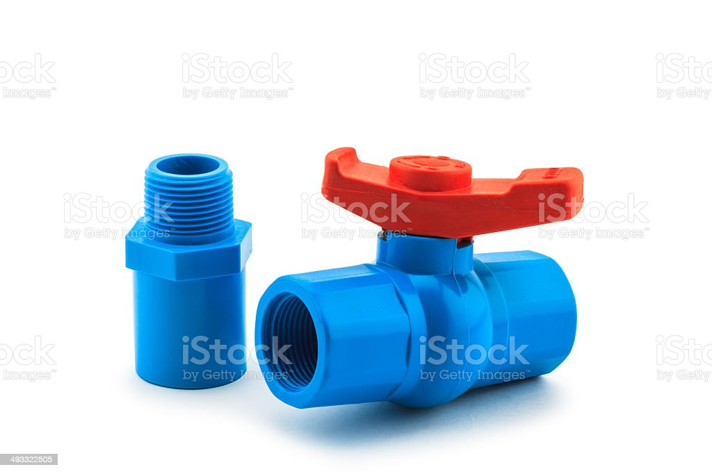 PVC ball valve with thread on white background stock photo