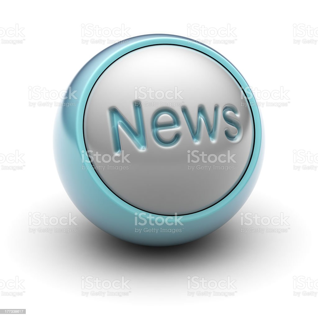 Ball with News sign on it against white background royalty-free stock photo