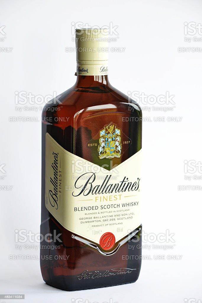 Ballantine's Finest Whisky Bottle. stock photo