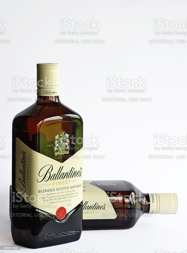 Ballantine's Finest Whisky Bottles stock photo