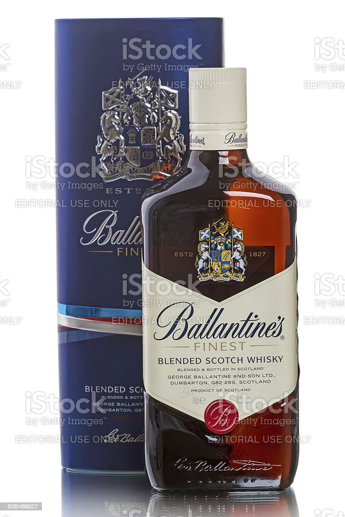 Ballantine's Scotch whiskies and branded packaging stock photo