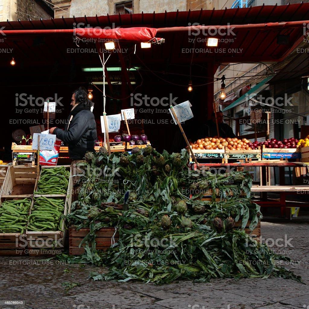 Ballarò Greengrocer's shop street market Palermo royalty-free stock photo