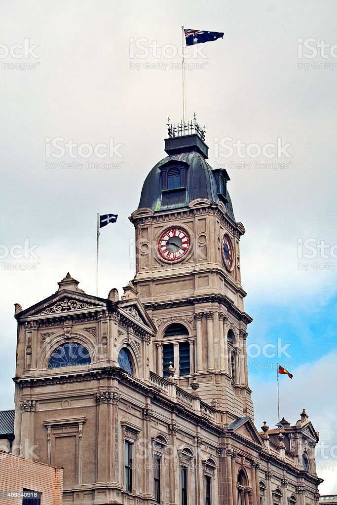 Ballarat Town Hall buildings with Australian, Aboriginal and Eureka flags stock photo