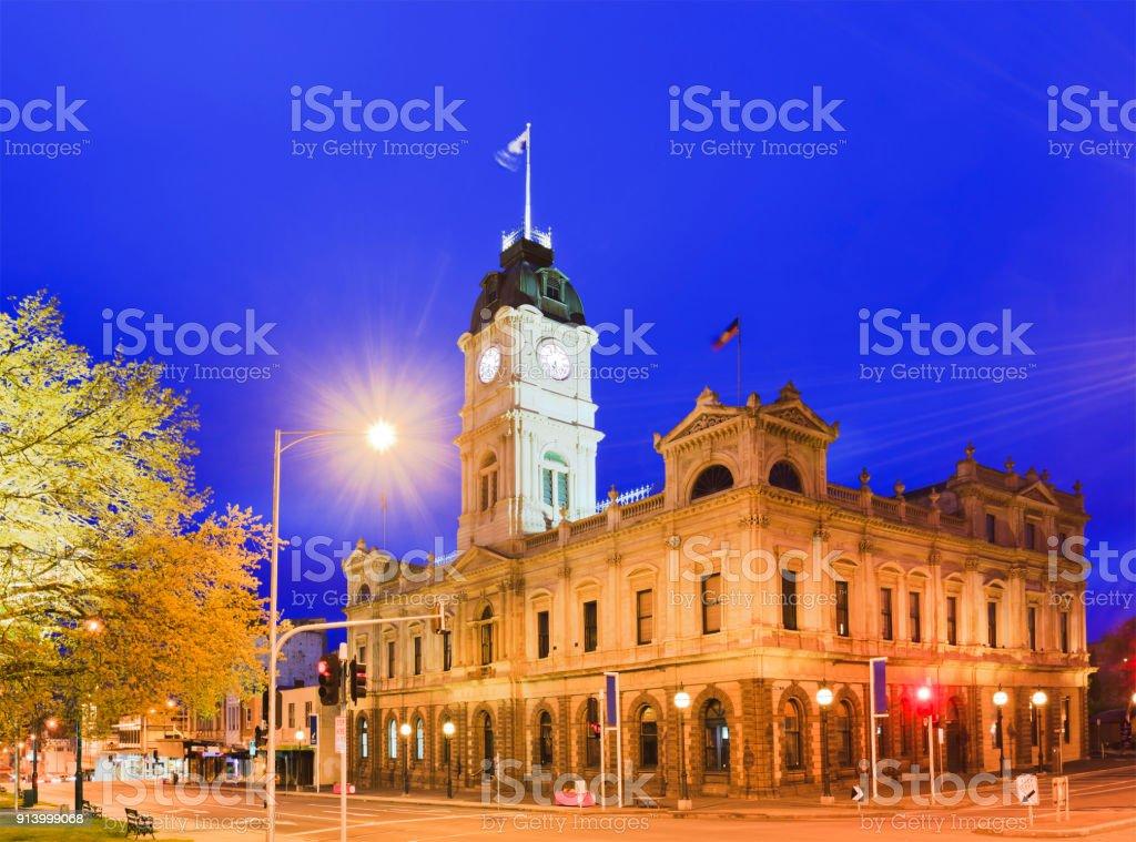 VIC Ballarat Town Hall corner rise stock photo