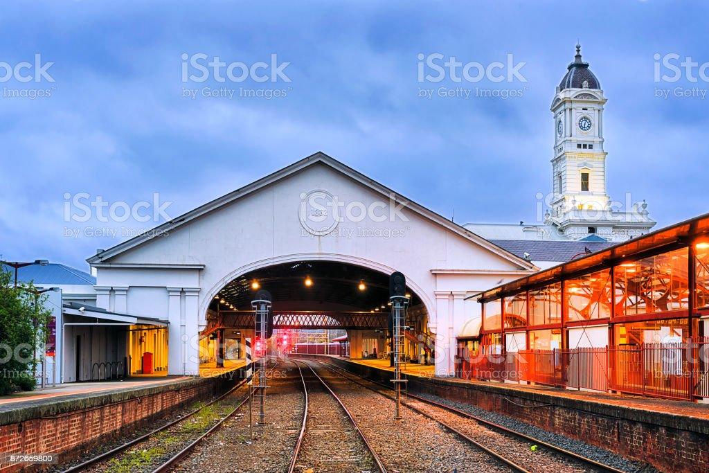 VIC Ballarat Train station rails stock photo