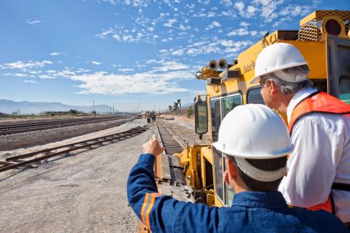Railroad Ballast Regulator,Railway Construction,Leveler, Control Cabin,Track Maintenance Operation,Engineer and Business Man