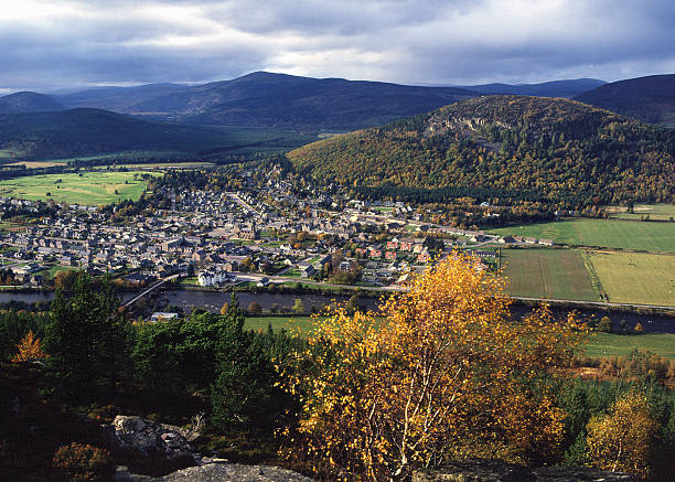Ballater Royal Deeside from the South, Scotland stock photo