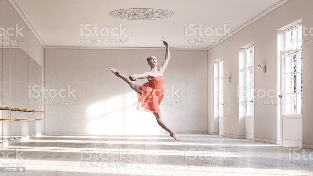 Ballerina at ballet class stock photo