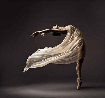 Ballerina Dance with Silk Fabric, Modern Flexible Ballet Dancer in Fluttering Waving Cloth, Pointe Shoes, Gray Background