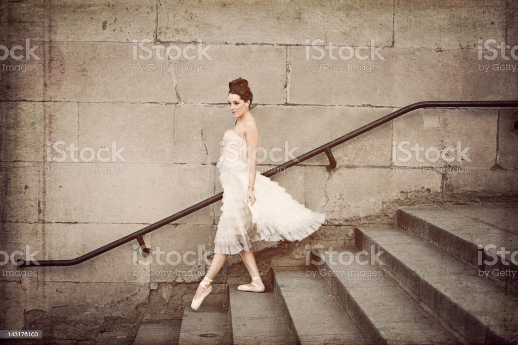 Ballerina Descends Staircase royalty-free stock photo