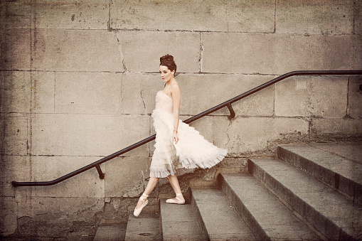 Ballerina Descends Staircase Stock Photo - Download Image Now