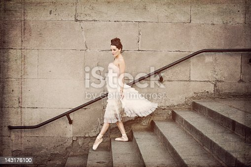 Ballerina Descends Staircase Stock Photo & More Pictures of Adult