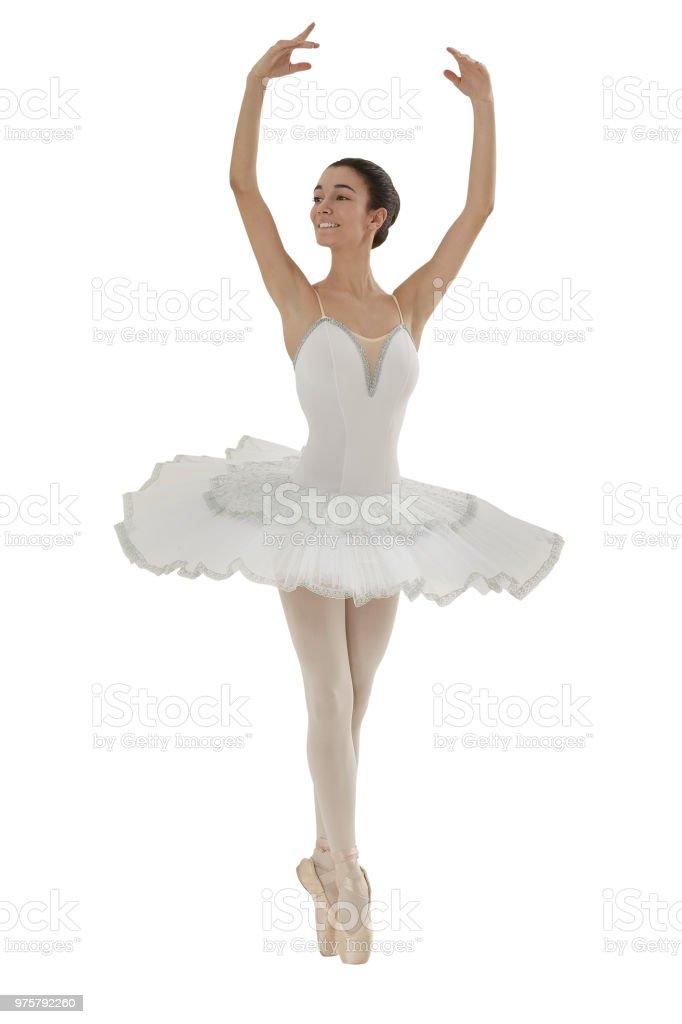 Ballerina Tun Die Releve Posieren Mit Weißen Tutu Auf Weißem ...
